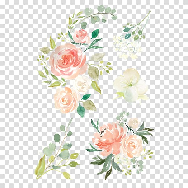 Pink, green, and white flowers illustration, Watercolour.