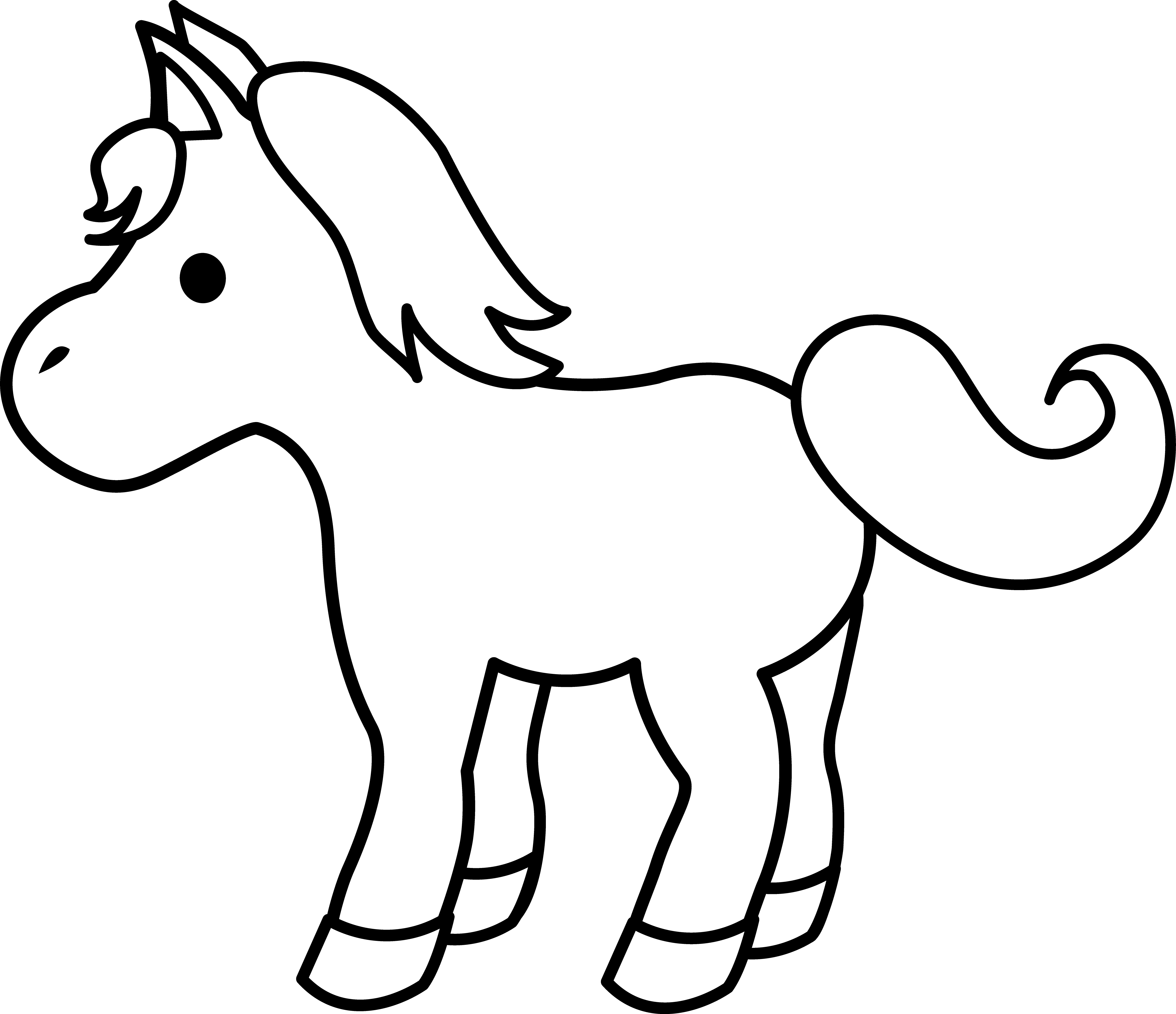 Horse Pony Foal Black and white Clip art.