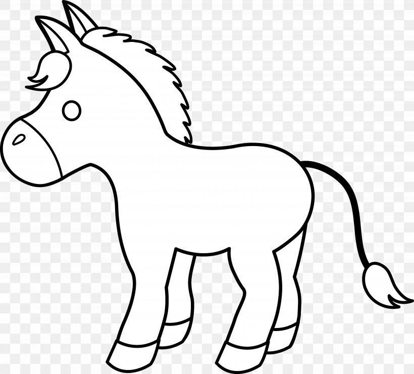 Horse Pony Foal Black And White Clip Art, PNG, 5281x4771px.