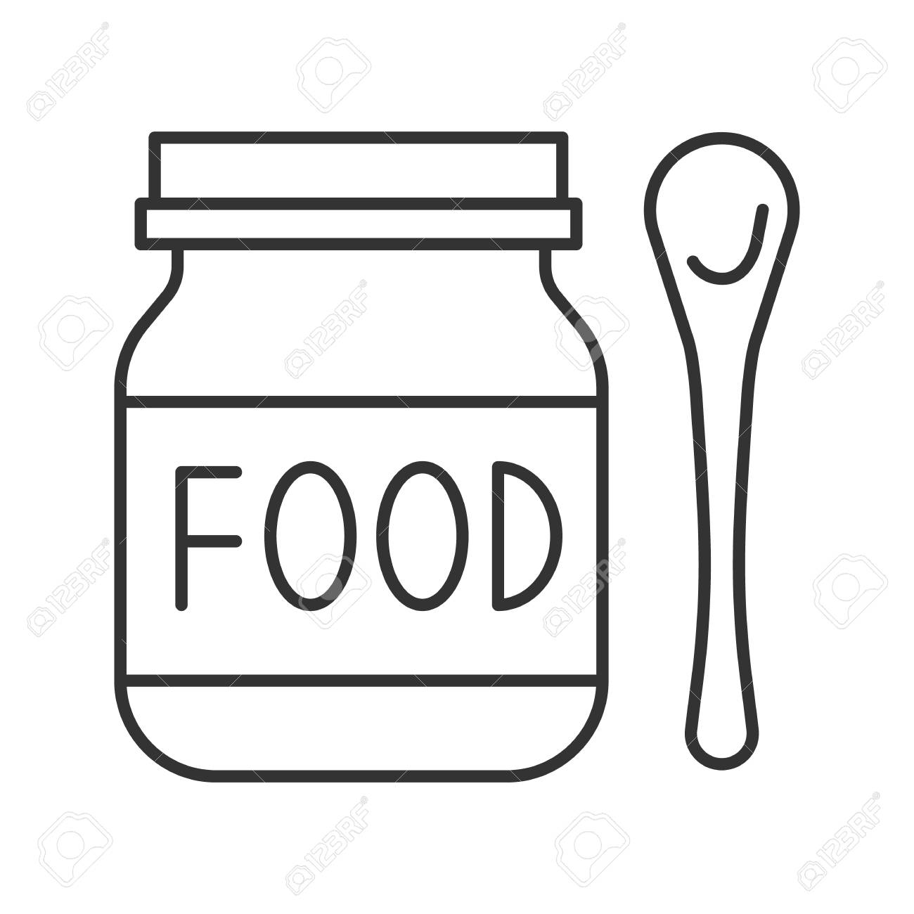 Baby food linear icon. Healthy nutrition. Thin line illustration.