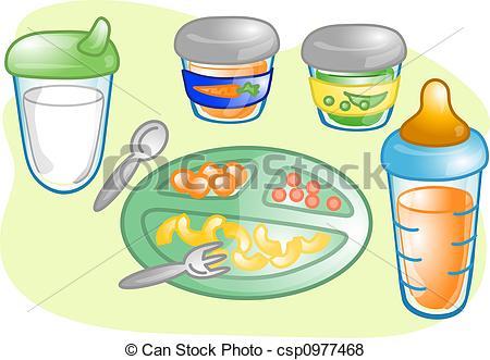 Baby food set illustration.