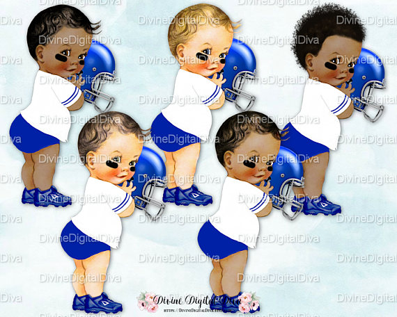 Little Prince Football Player Royal Blue & White Diaper.