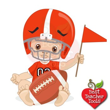 Baby Boy Clipart, Nursery Clipart, Football Clipart, Sports Clip Art,  AMB.