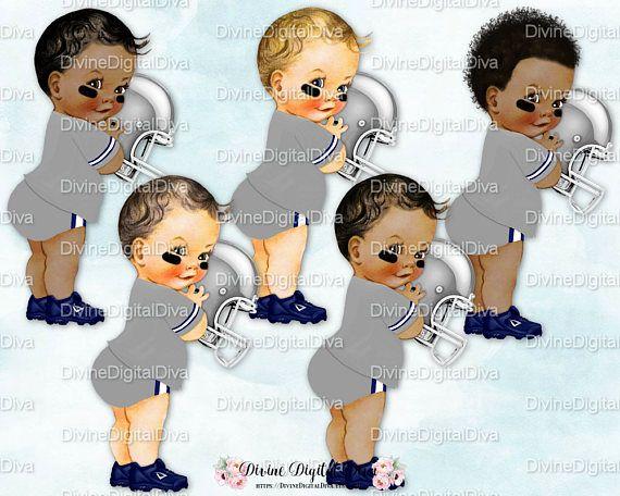 Little Prince Football Player Gray & Navy Blue Jersey Helmet.
