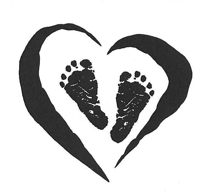 Baby footprints clipart black.