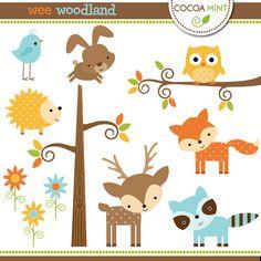 Woodland Nursery Clipart, Baby Animals Clip Art, Forest Friends.