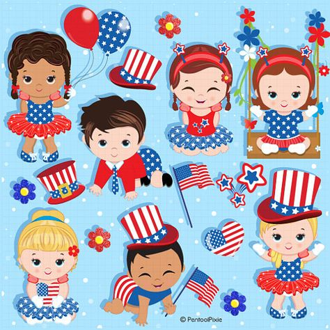 Patriotic babies, 4th of July baby, Fourth of July clipart.