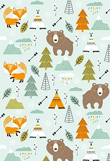 MUZI Photography Backdrops Jungle Animals and Plants Background Bears Fox  Pine Feather Decor Wallpaper Baby Birthday Party Photo Shooting Prop 5x7ft.