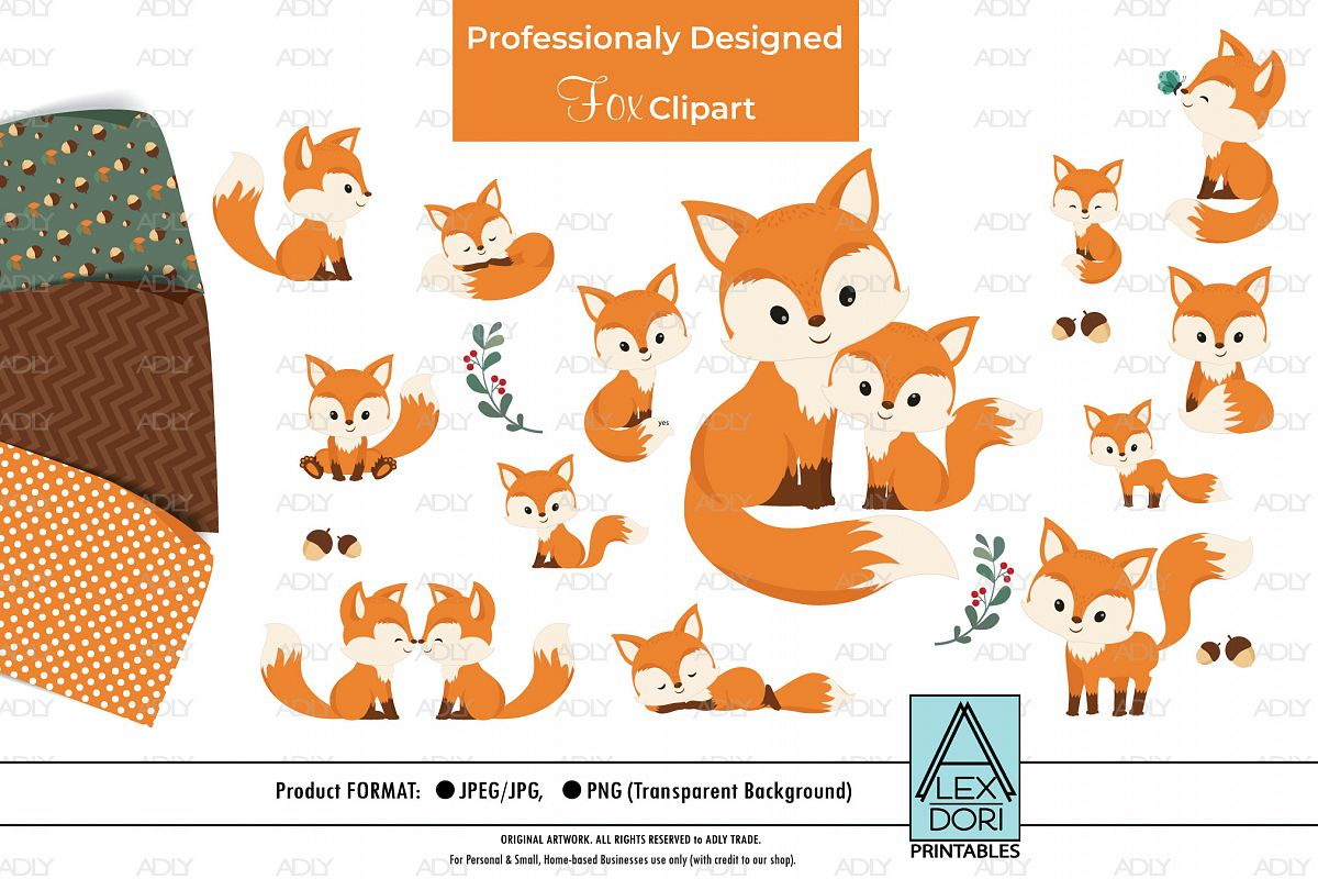 Baby and Baby with Mom Fox Clipart plus Background set 3.