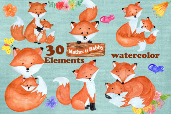 30 Mother & Baby Fox Clipart Designs.