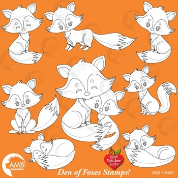 Fox Clipart, Cute Foxes Digital Stamps Clipart, Mother and Baby Fox,  AMB.