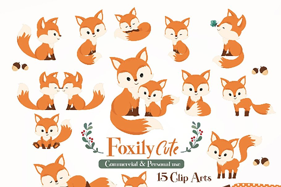 Cute fox clipart Baby Fox, Mommy fox.