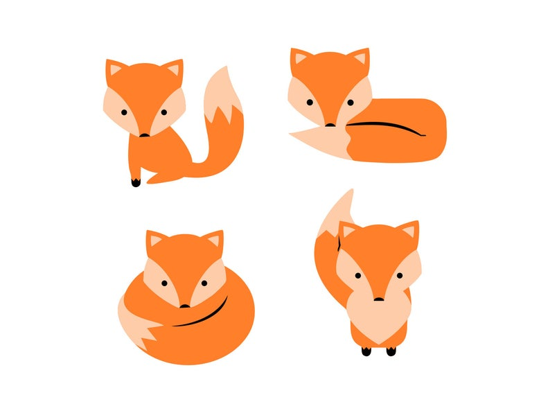 Fox Svg, Fox Clipart Set, Baby Fox Bundle Cutting Files, Kids Room Art,  Boys Room Vector Clipart, Girls Room Fox Clip Art, Svg Png Dxf.