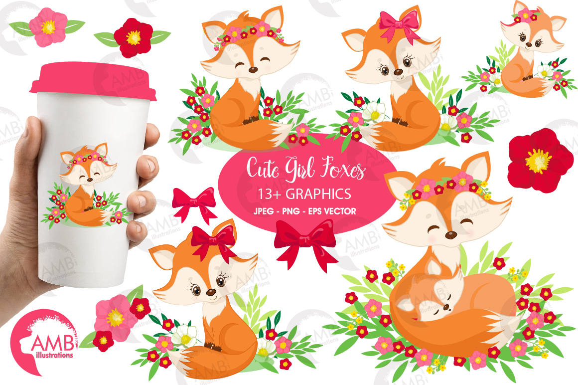 Fox clipart, Cute foxes clipart, Fox love clipart, mother and baby fox,  AMB.