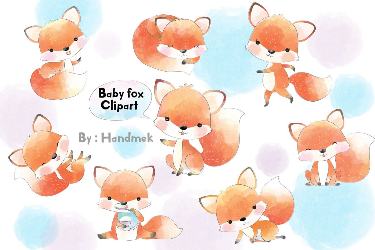 Baby fox clipart..