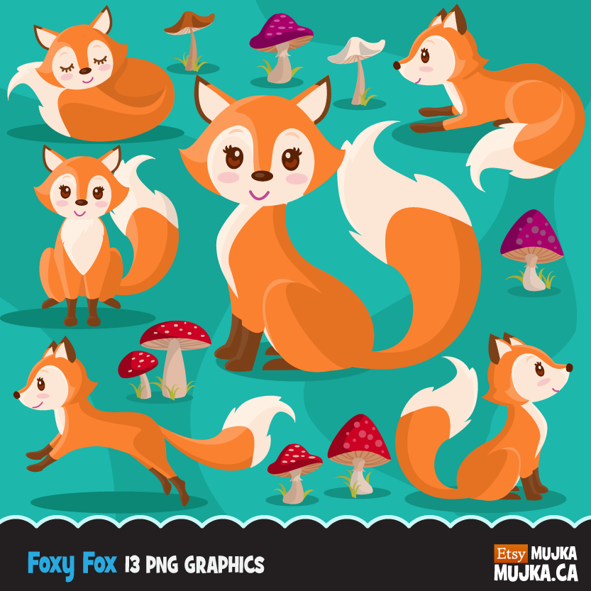 Woodland Fox clipart. Baby fox graphics with cute mushrooms.