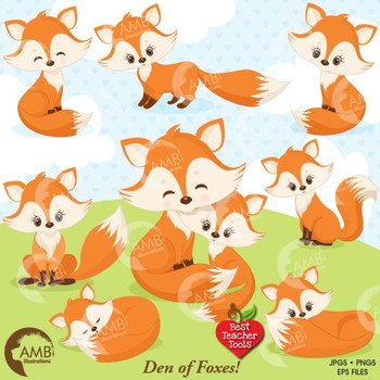 Fox Clipart, Cute Foxes Clipart, Mother and Baby Fox, Fox Den, AMB.