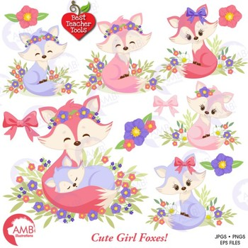 Fox Clipart, Cute Foxes Clipart, Mother and Baby Fox, AMB.