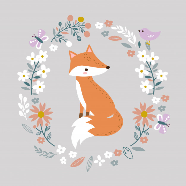 Cute baby fox and floral illustration Vector.