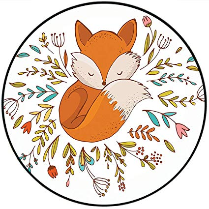 Amazon.com: Short Plush Round Area Rug Cartoon Cute Baby Fox.