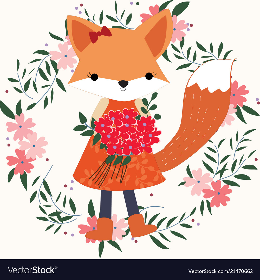 Baby fox girl in the floral frame.