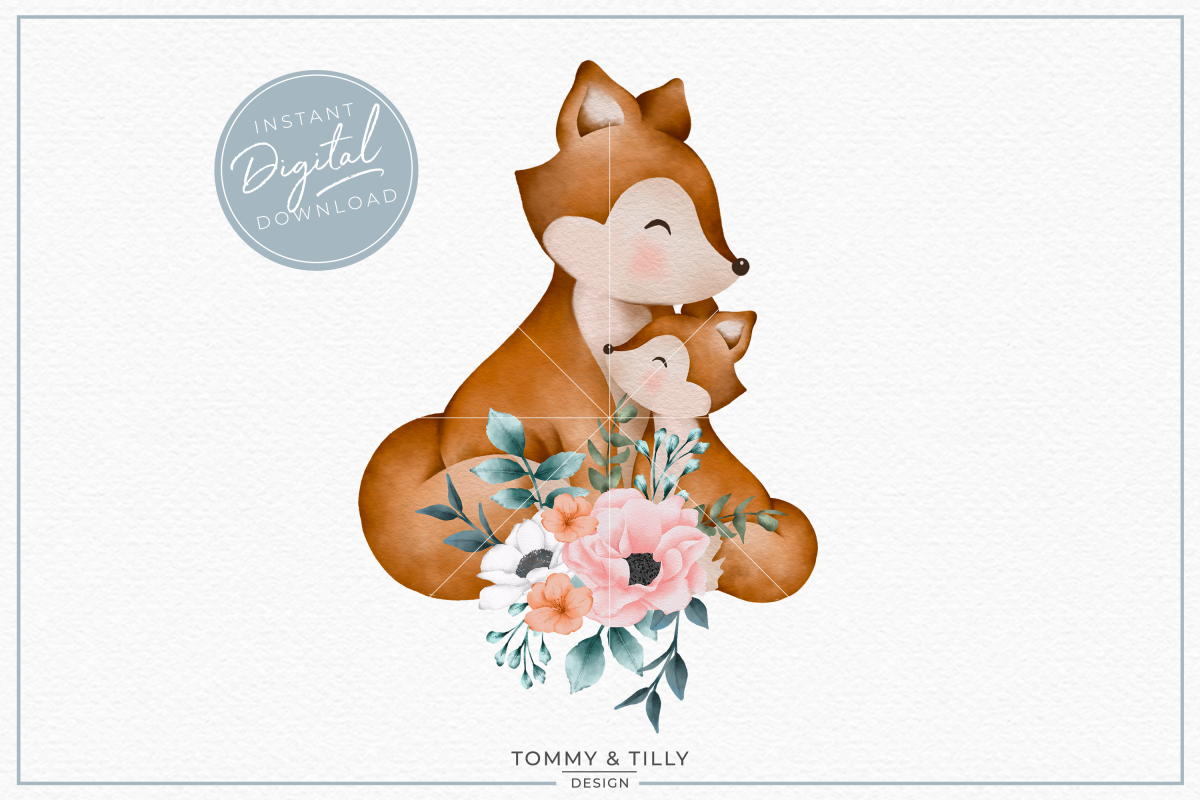 Floral Mummy and Baby Fox.