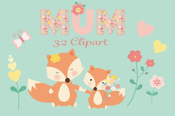 A sweet mummy and baby fox floral clipart set for mothers.