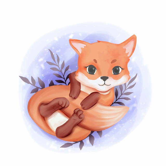 Baby Fox Adorable Play With Its Tail, Adorable, Animal, Art PNG and.