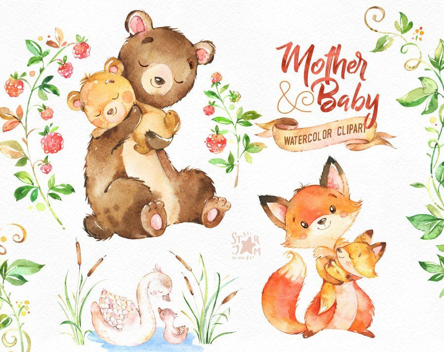 Mother & Baby. Watercolor animals clipart, fox, bear, swan.