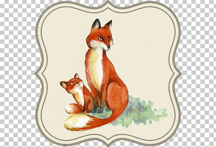 Infant Drawing Mother Fox Watercolor Painting PNG, Clipart.