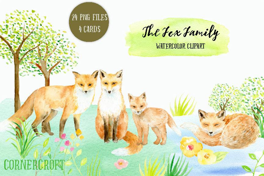 Watercolor clipart fox family printable instant download, wild life, fox,  kit, fox illustration, greeting cards.