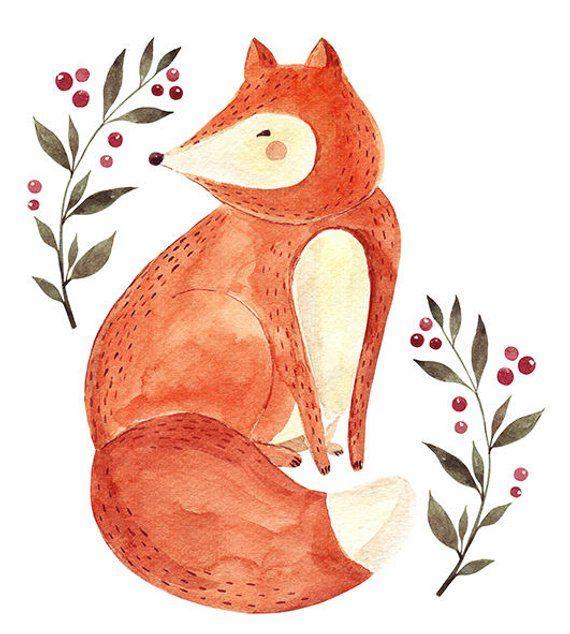 Watercolor Fox Printable Clip Art, PNG format, baby art.