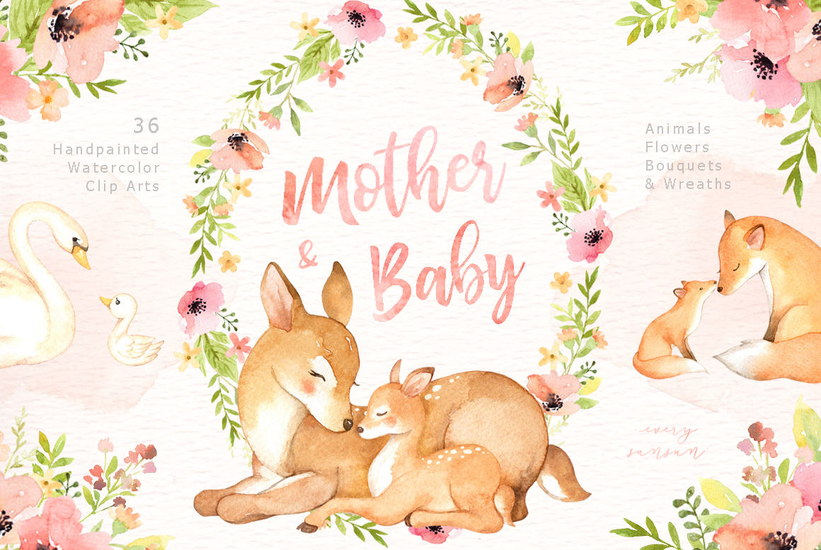 Mother & Baby Watercolor Clipart By everysunsun.
