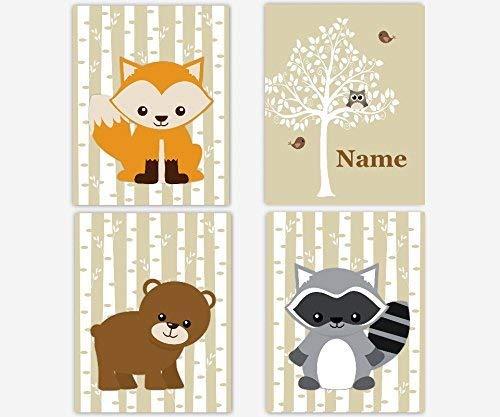 Woodland Baby Girl Nursery Art Personalized Racoon Bear Fox Owl Baby  Nursery Decor SET OF 4 UNFRAMED PRINTS.