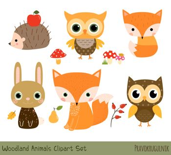 Cute Woodland Animal Clipart, Forest Animal Clip Art Set.