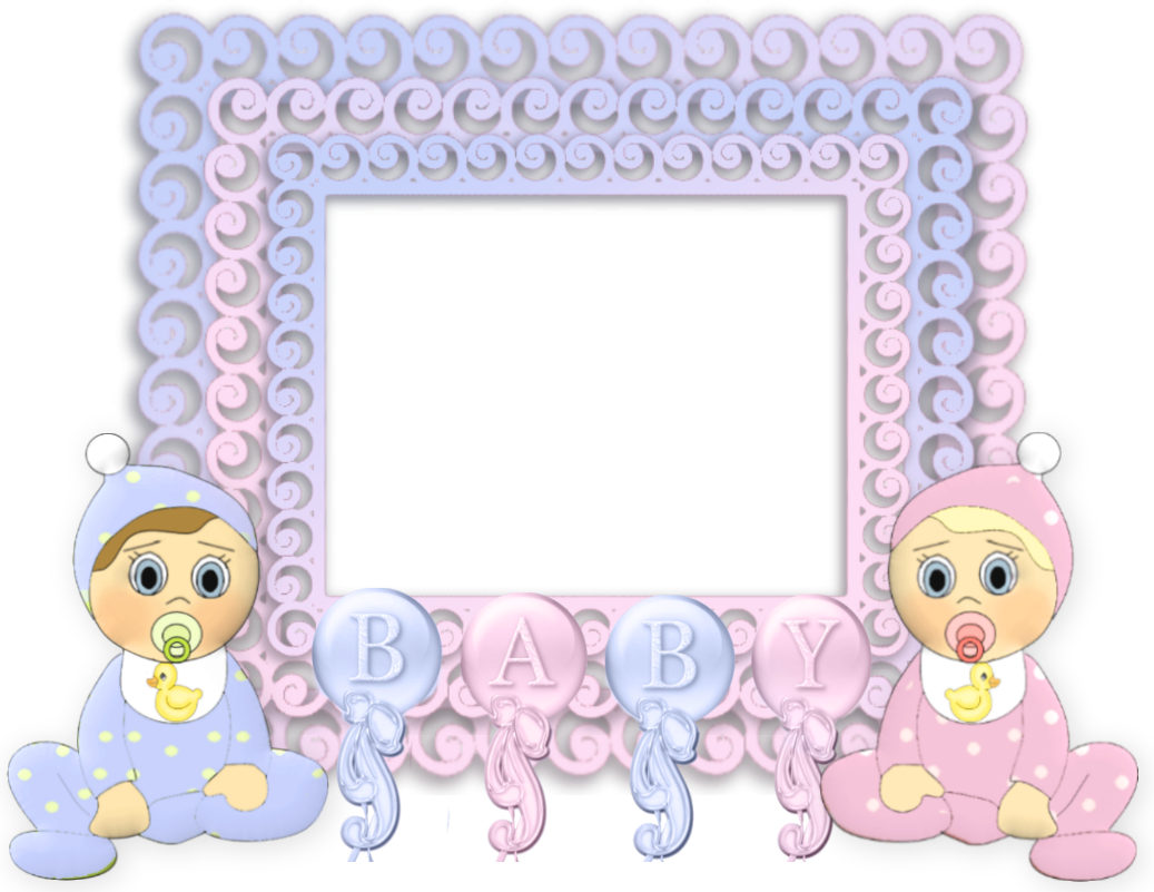 Transparent Pink and Blue PNG Baby Frame.