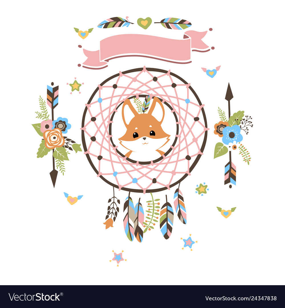 Boho dream catcher with baby fox inside.