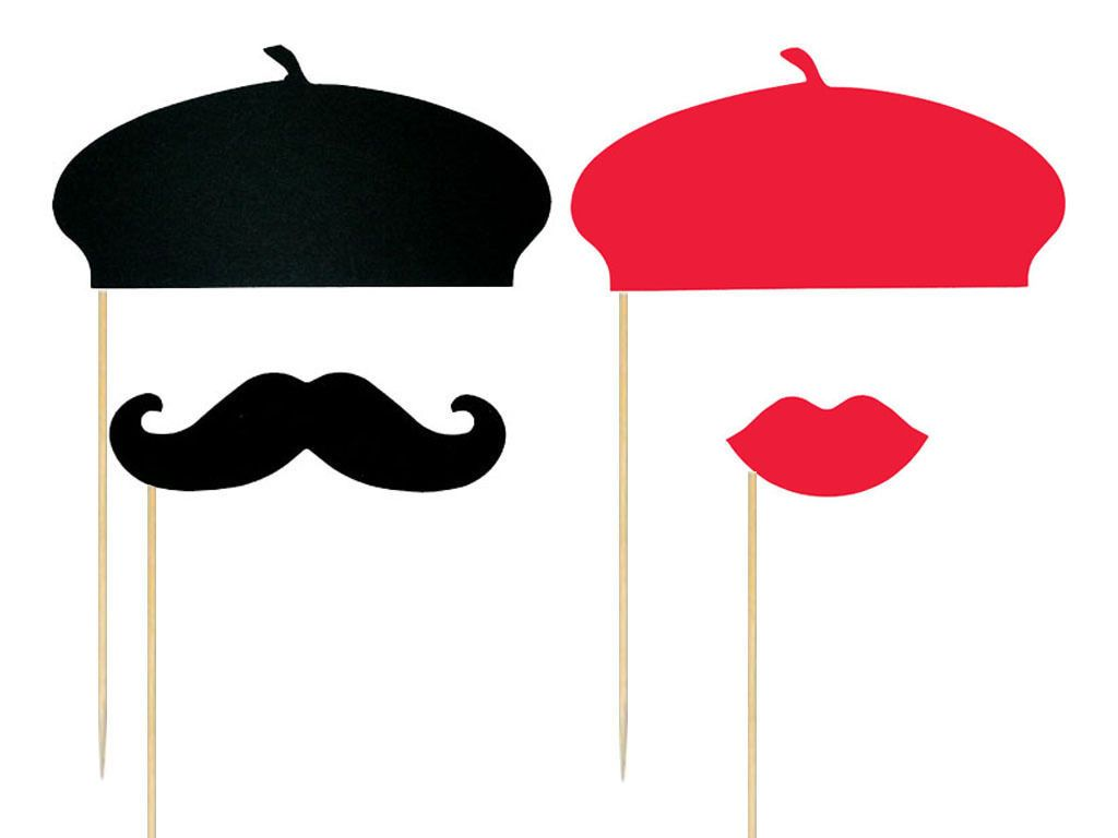 Photo Booth Props French Beret Hats Mustaches Lips Set of 20.