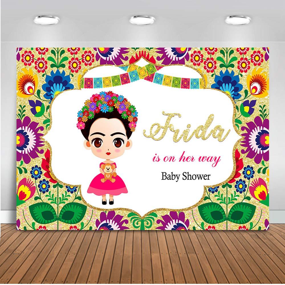 Mehofoto Mexican Frida Kahlo Baby Shower Backdrop Mexico Frida Floral  Background 7x5ft Vinyl Mexican Girl Baby Shower Party Banner Backdrops.