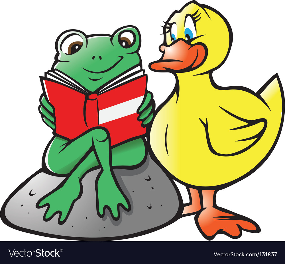 Frog duck reading.