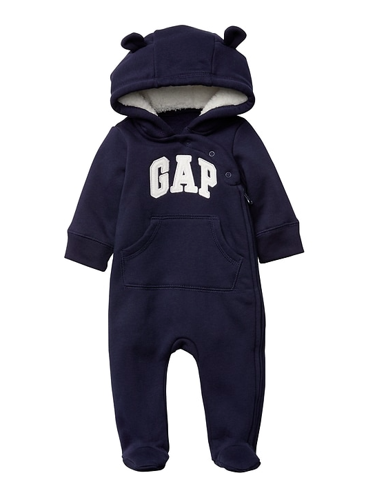 Baby Gap Sherpa Bear Arch Logo Footed Zip One.