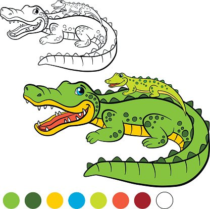 Mother alligator with her little cute baby alligator Clipart.