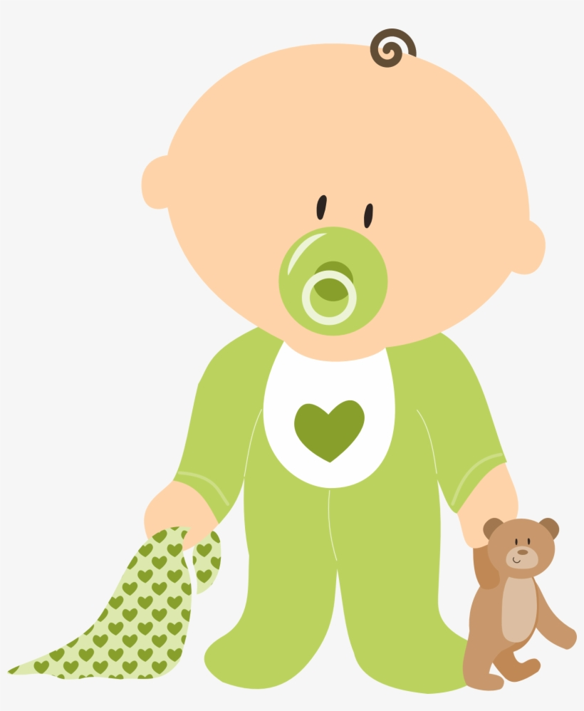 Drawing Of Baby Boy With Teddy Bear And Dummy.