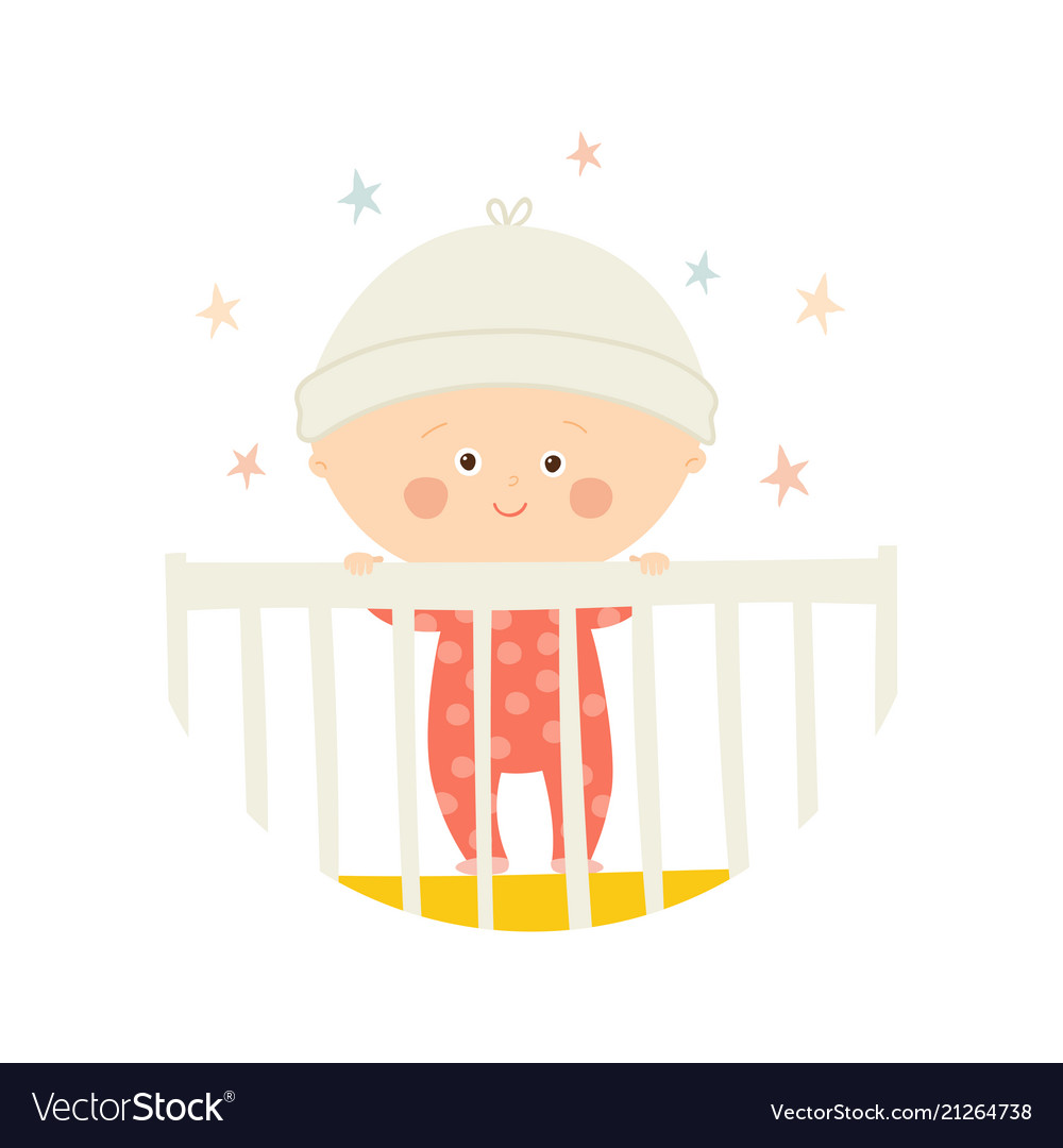 Cute baby 1 year old standing in crib baby shower.