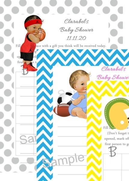 Sport Baby Shower Bingo Cards Many Options.