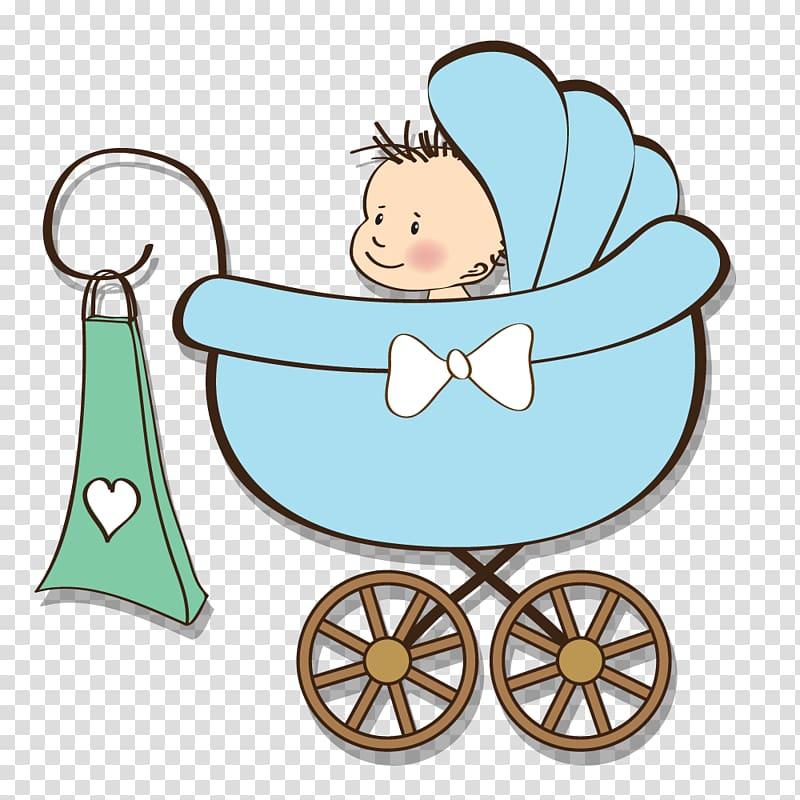 Baby on pram stroller illustration, Baby shower Gift Infant.
