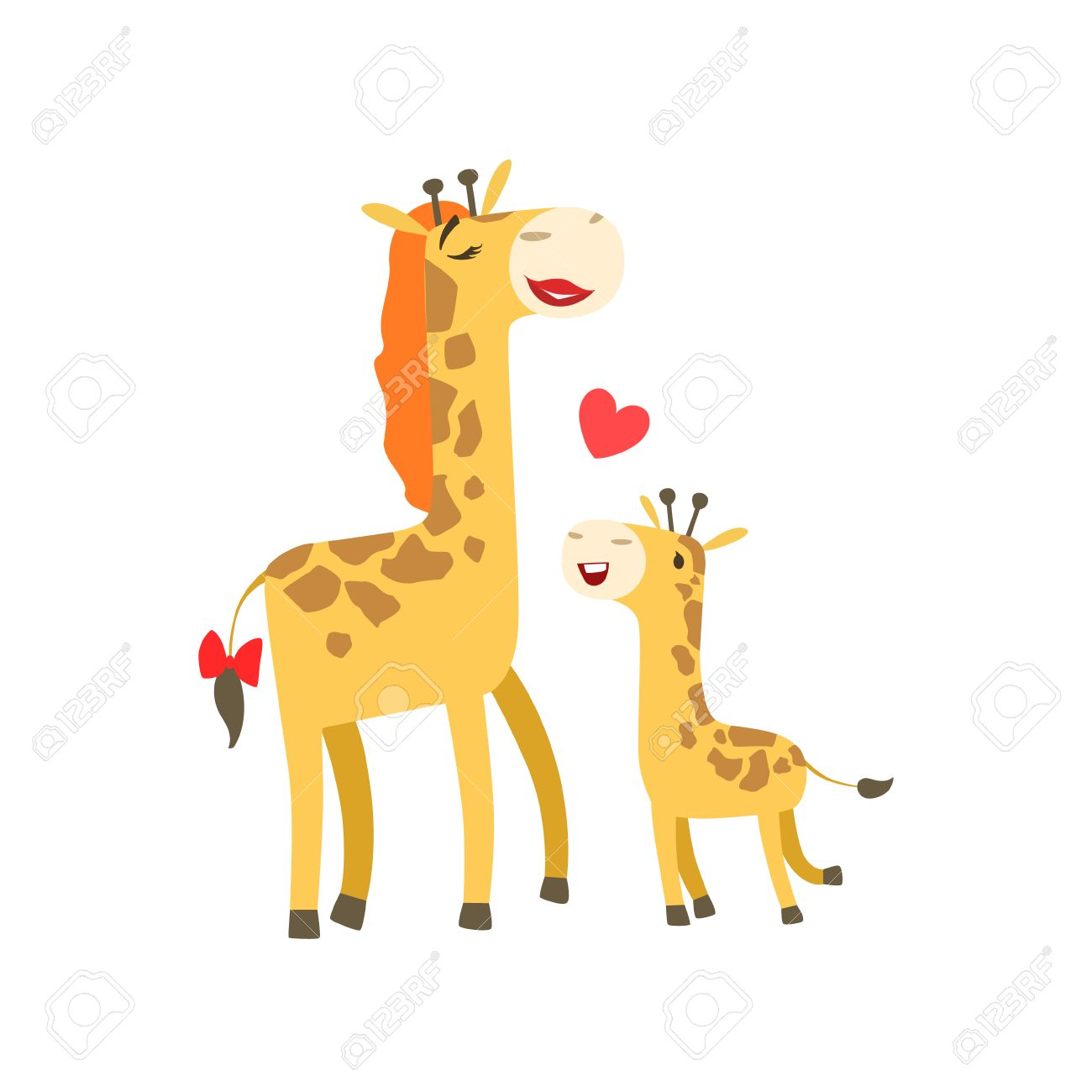 Giraffe Mom And Baby Clipart.