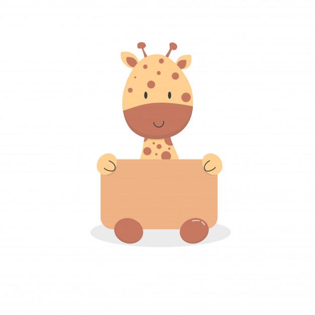 Cute baby giraffe cartoon sit Vector.