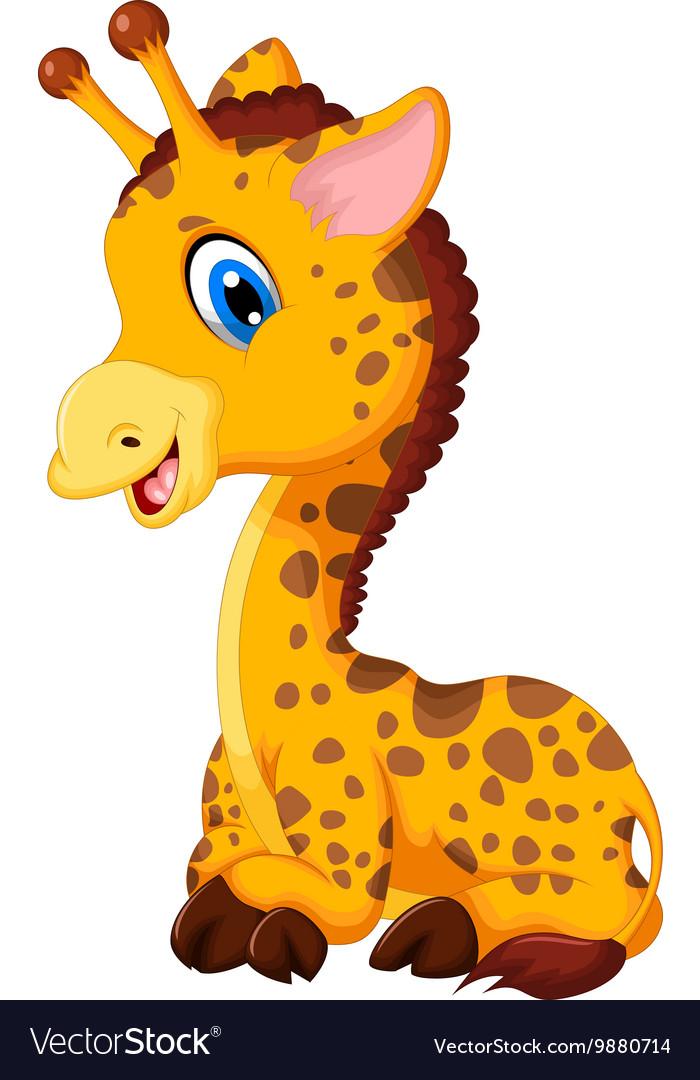 Cute baby giraffe cartoon sitting.