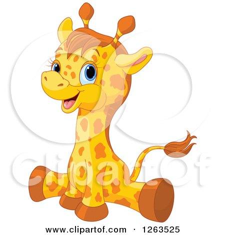 Clipart of a Cute Baby Giraffe Doing the Splits.